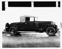 1930 Packard convertible coupe, nine-tenths right side view, top raised