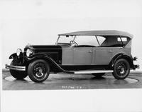 1931 Packard touring car, seven-eights left side view, top raised