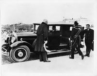 1931 Packard sedan limousine, nine-tenths left side view, with Prince Nobuhito entering car