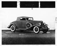 1932 Packard coupe roadster, seven-eights left side view, top raised