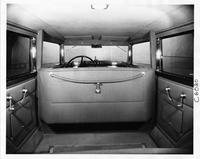 1932 Packard sedan limousine, view of interior from rear seat
