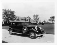 1932 Packard sedan parked by the Lodge at Packard Proving Grounds