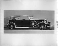 1933 Packard touring car, nine-tenths right side view, top raised