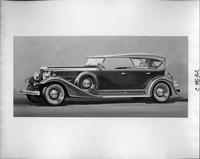 1933 Packard sport phaeton, nine-tenths left side view, top raised