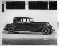 1933 Packard coupe, nine-tenths right side view, top raised