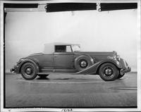 1934 Packard coupe roadster, nine-tenths right side view, top raised