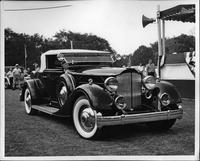 1934 Packard coupe roadster, three-quarter front view, top raised
