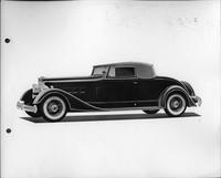 1934 Packard coupe roadster, nine-tenths left side view, top raised