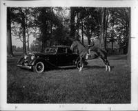 1934 Packard coupe and Roseanne Leckie on Virginny Ler at Columbus Riding Club, Ohio