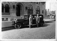 Boston police chief accepting delivery of new 1930 Packard sedan