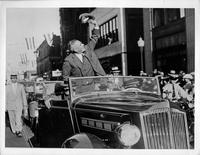 1936 Republican presidential candidate Governor Alf Landon in a 1936 Packard convertible sedan