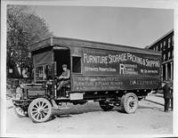 1917-18 Packard truck, nine-tenths left side view, parked on residential street