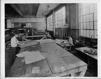 Packard upholstery cutting room, 1927