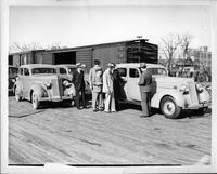 1935 Packard one-twenties arriving in Dallas, Texas