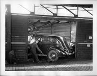 1935 Packard one-twenty being loaded in to boxcar for shipment