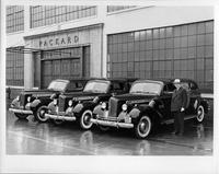Three new 1940 Packard touring limousines outside the Packard plant
