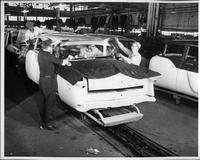1955 Packard clipper on assembly line, rear view