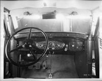 1932 Packard prototype sedan, view of dashboard, steering wheel, and controls