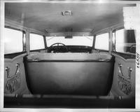 1932 Packard prototype sedan, view interior through rear window