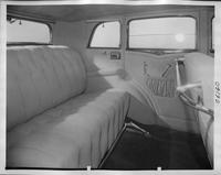 1932 Packard prototype sedan, view of rear interior through right rear passenger door