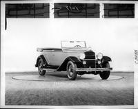 1932 Packard prototype touring sedan, three-quarter right front view, top folded