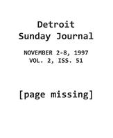 The Detroit Sunday Journal:: November 2-8, 1997