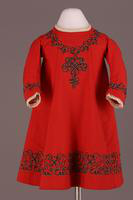 Red Wool Twill Child's Dress, 1860-1870