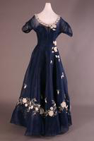 Appliqued Blue Silk Organza Evening Dress, 1949