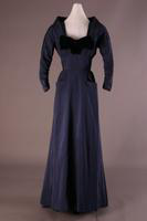 Navy Blue Synthetic Silk Faille Evening Dress, 1947