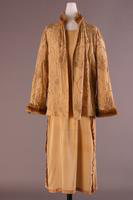 Crepe Dress with Embroidered, Fur Lined Jacket, 1921-1922