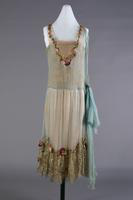 Chiffon Evening Dress, adorned with silk flowers, 1924