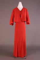 Coral Silk Evening Dress, about 1935