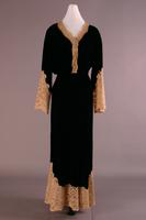 Black Velvet and Lace Hostess Dress, about 1930-1932