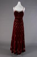 Wine Colored Velvet Evening Dress, 1940