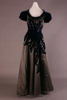 Appliqued Silk Satin Evening Dress, 1947