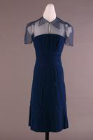 Wool Dress With Net Collar, Bodice, and Sleeves, about 1940