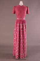 Pearl Button Adorned Pink Evening Dress, about 1946
