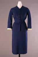 Deep Navy Blue Linen Day Suit, 1951