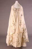Embroidered Cotton Organdy Dress with Stole, 1955
