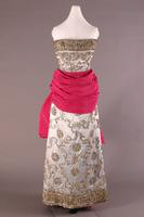 Satin Embroidered Gown with Large Cummerbund Sash, 1950