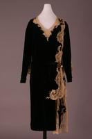 Lace and Black Silk Velvet Evening Dress, 1927