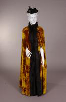 Women's golden brown plush cloak from the nineteenth century