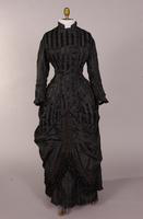 Black silk faille dress from the nineteenth century