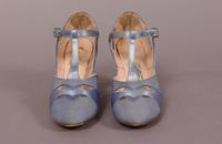 Women's light blue T-strap slippers from the late '20s or early '30s