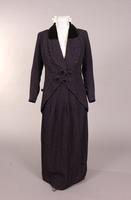 Women's navy blue wool matlesse suit from the early twentieth century