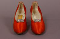 Women's rose satin pumps with rhinestone buckle from the late '20s or early '30s