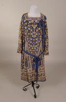 Blue silk dress with chain stitch embroidery from the mid '20s or early '30s