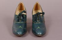 Women's green kid shoes with gold piping from the mid '20s or early '30s