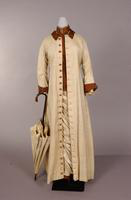 Two-piece tan silk shantung dress from the nineteenth century