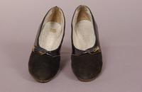 Women's black suede and patent leather pumps from the late '20s or early '30s